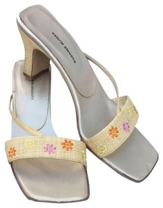 Valerie Stevens Beige W/ Purple, Yellow, Orange Flowers Sandals