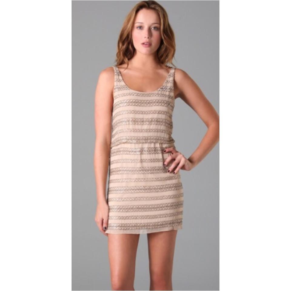 Alice + Olivia Nude Silver Beading Short Cocktail Dress Size 6 (S ...