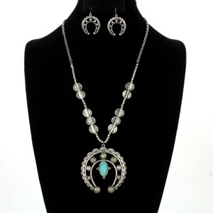 2pc Turquoise Accented Tibet Silver Jewelry Set Free Shipping