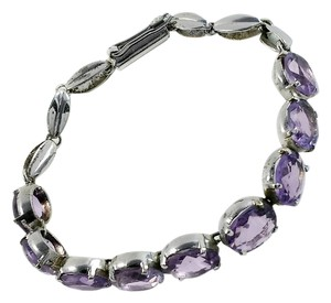 Other Sterling Amethyst Gemstone Bracelet - 7.5