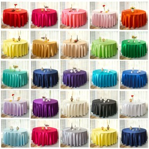 "Your Choice Lot Of 12 120"" Round Satin Colors To From Tablecloth"