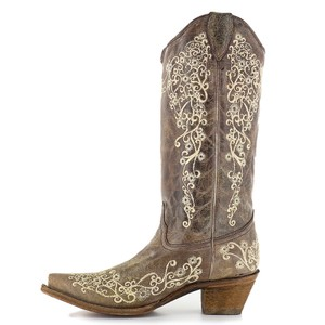 Corral Women's Bone Embroidery Western Boots Wedding Shoes