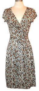 Diane von Furstenberg short dress Brown, Tan, Ivory Wrap Knee-length on Tradesy