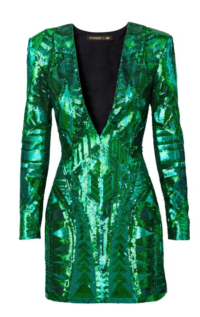 Item - Green Sequin-embroidered H&m (Kendell Jenner) Above Knee Cocktail Dress Size 4 (S)