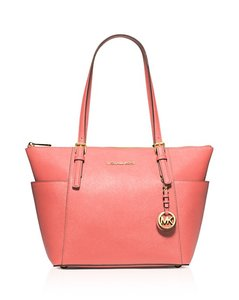Michael Kors Leather Pink Peach Gold New With Tags Tote in Pink Grapefruit/Gold