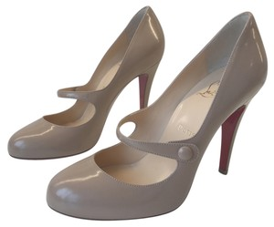 Christian Louboutin Leather Round Toe Mary Jane Classic Louboutin Nude Pumps