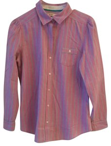Old Navy Button Down Shirt Pink with blue and white pinstripes