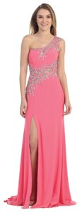 Fuchsia One Shoulder Web Beaded Pattern Long Dress