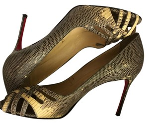 Christian Louboutin Lizard Intermix Leather Chanel brown Pumps
