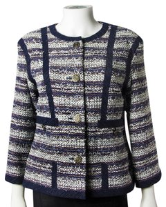 Chanel Dallas Blue Navy Tweed Stripe Multi Jacket