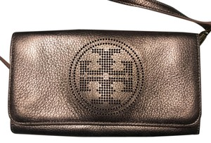 Tory Burch Metallic Logo Leather Pebbled Cross Body Bag