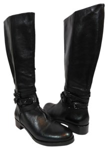 Via Spiga Leather Riding Boot Black Boots