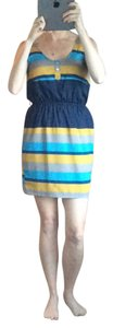 Peppermint short dress Navy, mustard yellow, gray, and light blue on Tradesy