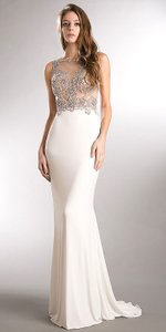 Off White Spaghetti Straps V-neck Sequins Long Formal Dress