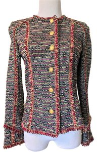 St. John Knit Tweed Stretch Stretchy Multi-colored Black/Red Jacket