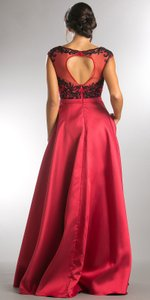 Burgundy Boat Neck Mesh Embroidered Top Long Formal Evening Dress