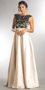 Champagne Boat Neck Mesh Embroidered Top Long Formal Evening Dress