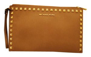 Michael Kors Studded Leather Wristlet in Tan