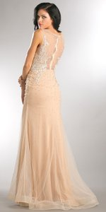 Nude Boat Neck Mesh Embroidered Top Long Formal Evening Dress