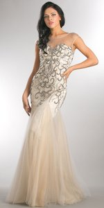 Silver Beaded Mesh Tulle Mermaid Style Evening Dress
