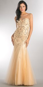Champagne Beaded Mesh Tulle Mermaid Style Evening Dress