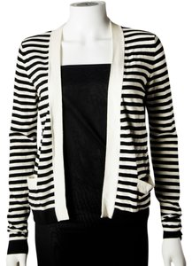 Chanel Black White Striped Cashmere Logo Cardigan