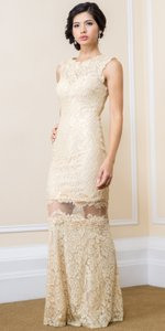 Nude Beaded Mesh Tulle Mermaid Style Evening Dress