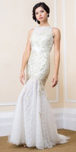 White Romantic Floral Gold Lace Long Formal Dress