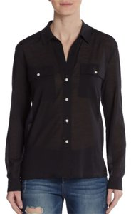 James Perse Incredible Soft From Warehouse Button Down Shirt Black