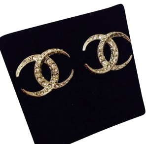 Chanel Chanel Moon Dubai CC Logo Gold-tone Crystal Earrings.