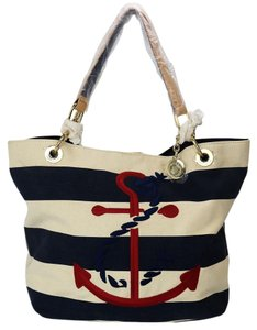 Tommy Hilfiger Stripe Anchor Canvas Tote in Navy and Cream