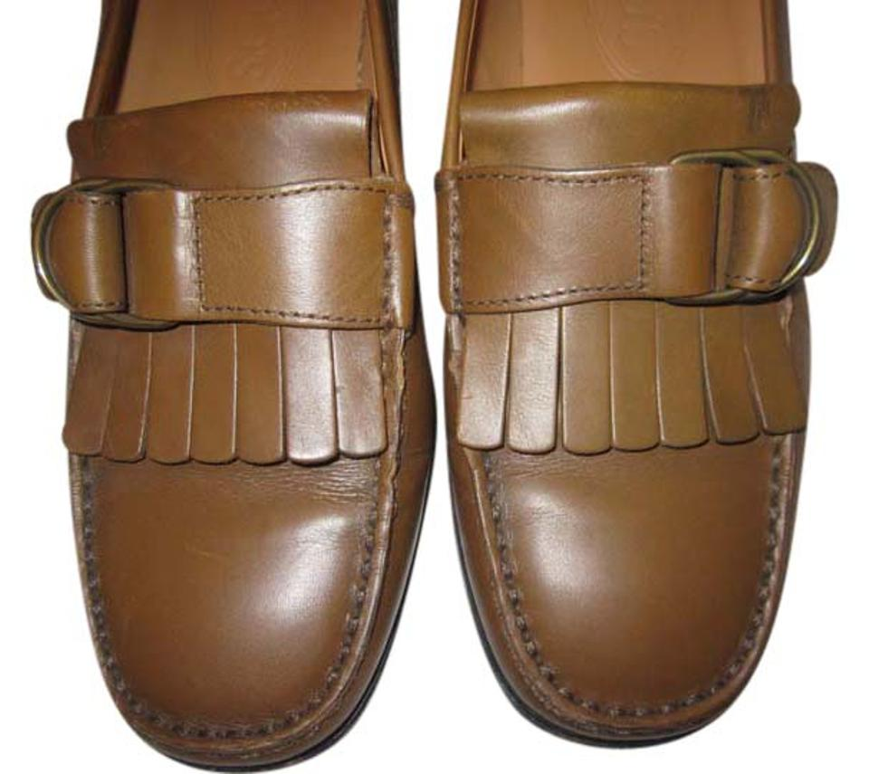 Tod's Moccasin Brown Driving Loafers with Moccasin Tod's Fringe and Buckle Flats 92ff6d