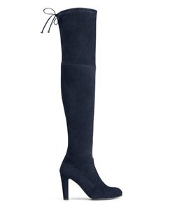 Stuart Weitzman Suede Over-the-knee Highland Navy Boots