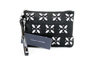 Tommy Hilfiger Canvas Rhinestone Wristlet in Black