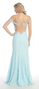 Aqua Off Shoulder Floral Lace Long Formal Dress