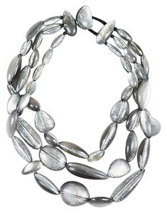Monies Monies Gray Metallic Chunky Beaded Multi Strand Statement Necklace