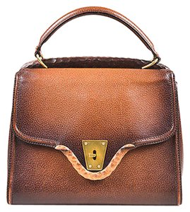 Gucci Vintage Grained Leather Wood Trim Gold Tone Structured Satchel in Brown