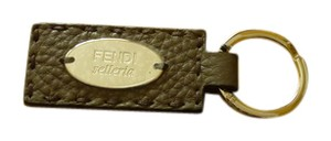 Fendi $150 FENDI 'Selleria' Leather Keychain Keyholder w/ Box Logo Plaque
