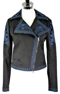 Marchesa Voyage Denim Embroidered Black Womens Jean Jacket