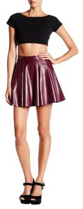 Necessary Objects Faux Leather Mini Skirt WINE
