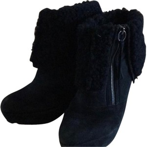 Ash Folk Suede Wedge Black Boots Boots