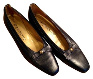 Saint Laurent New Leather Vintage Navy Blue Flats