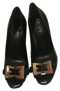 Gucci Bow Gold Heels Black Pumps
