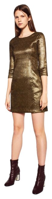 Item - Gold Shiny Tailored Above Knee Short Casual Dress Size 8 (M)