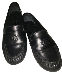 Chanel Loafers Leather Black Flats