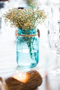 Blue Mason Jars In Great Condition
