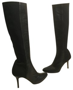 Jimmy Choo Front Lining Made Italy Black leather fabric stretch gussets Italian E36.5 knee Boots