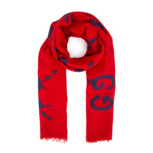 Gucci Ghost Red Navy Modal Silk Scarf