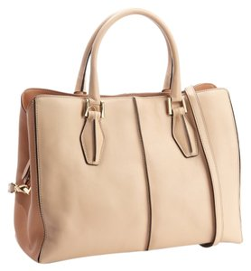 Tod's Leather Color-blocking Tote in Peach and Beige