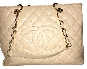 Chanel Leather Quilted Tote in Tan